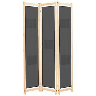 vidaXL 3-osainen huoneenjakaja harmaa 120 x 170 x 4 cm kangas