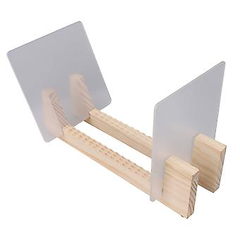 Desktop Record Holder with Clear Plastic Boards for Albums Wood Color