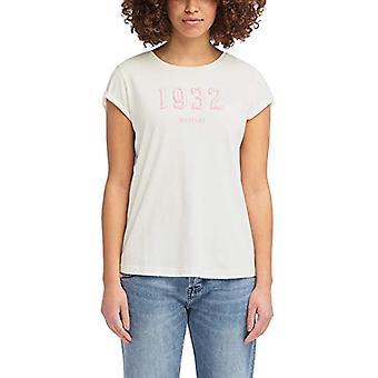 Mustang Flockprint Camiseta Tee, Beige (Cloud Dancer 2020), Medium Woman