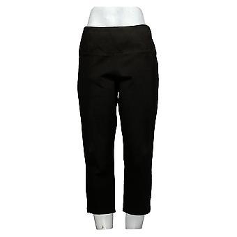 Vrouwen met Control Dames Jeans Petite Buik Controle Crop Zwart A306461