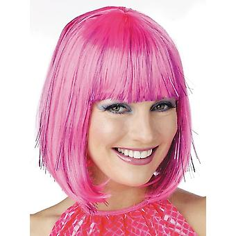 Shimmering Bob Pink with Bang Celebrities Party Women Costume Wig