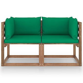 vidaXL Garten-Palettensofa 2-Sitzer mit Kissen Grün Kiefernholz