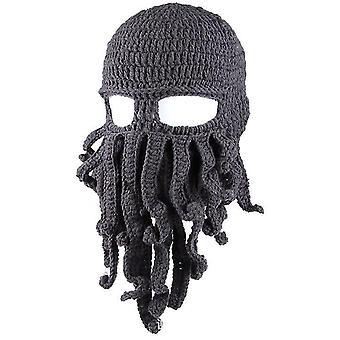 Dunkel grau Oktopus Hut lustige maskierte handgemachte gehäkelte Wolle warmen Hut az9431