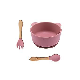 3 Piece set of eco friendly bpa free silicone baby feeding bowl set with suction bottom