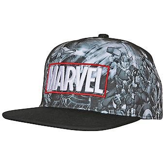 Marvel Avengers Characters Sublimated Panels Flat Brim Adjustable Hat