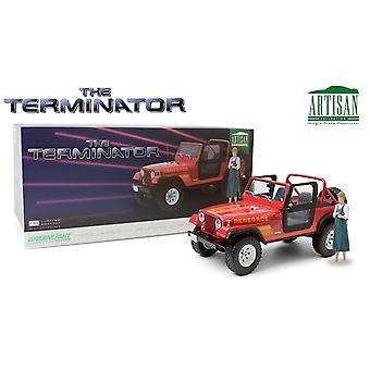 Terminator 1989 Jeep CJ-7 Renegade med Sarah Connor Figur 1:18 Greenlight