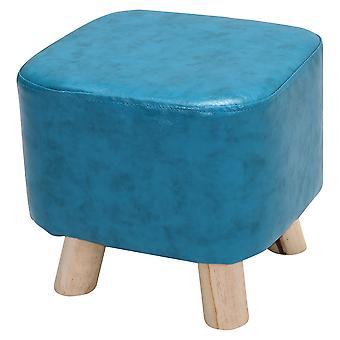 Blue Kids PU Leather Square Padded Footstool