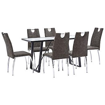 vidaXL 7 pcs. Dining group Braun faux leather