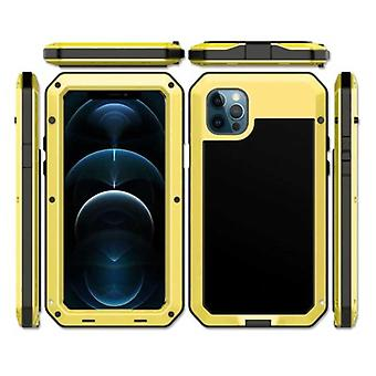 R-JUST iPhone 12 Pro Max 360 ° Full Body Case Tank Cover + Screen Protector - Shockproof Cover Metal Gold