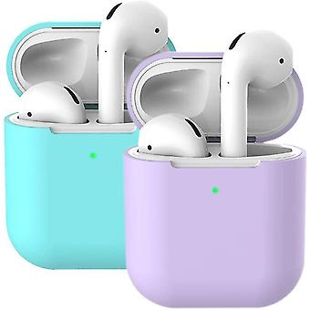 2X Case for AirPods Case Cover Skins (AirPods 2, Purple +Mint Green)(Mint Green +Purple)