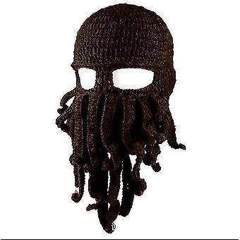 Octopus Hat drôle masqué fait à la main crocheté chapeau chaud(Café foncé)