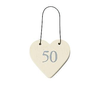 50 Mini Wooden Hanging Heart for 50th Birthday - Cracker Filler Gift