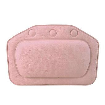 (Pink) Comfy Bath Spa Pillow Cushioned Spongy Relaxing Bathtub Cushion Suction Cup Home