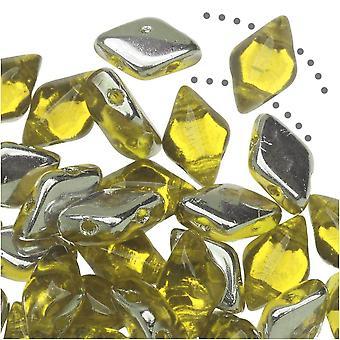 Czech Glass GemDuo, 2-Hole Diamond Shaped Beads 8x5mm, 8 Grams, Backlit Citrine