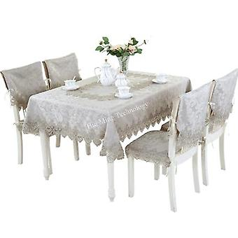 Geborduurd tafelkleed tafel eettafel cover kleine grijze tafel doek kant koffie vlag kussen