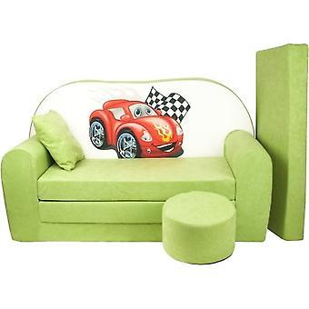 Zestaw rozkładanych sof dla dzieci - materac dla gości - sofa - 170 x 100 x 8 - rozkładana sofa - jasnozielona - samochody