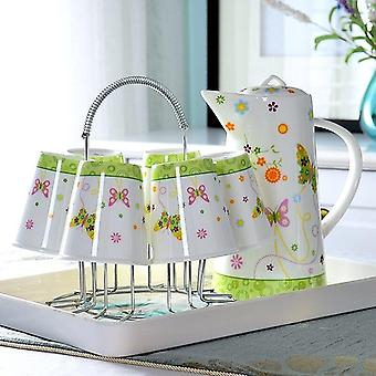 Olla de té de bone China y taza se, soporte de acero inoxidable, dispensador de bebidas de cerámica (verde)