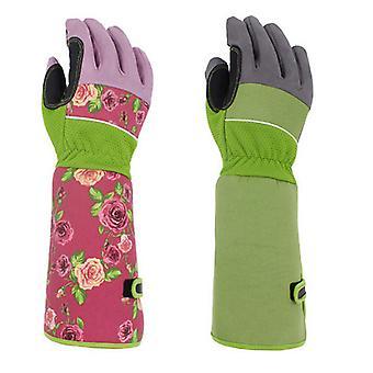 Mimigo 1 pár dlouhé zahradní rukavice ženy / profesionální růže prořezávání Trnité odolné zahradnické rukavice s dlouhou ochranou předloktí pro ženy - punkce Re