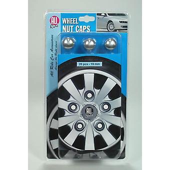 20pcs carro roda porca Caps parafuso cabeça 19 milímetros prata protetores plásticos