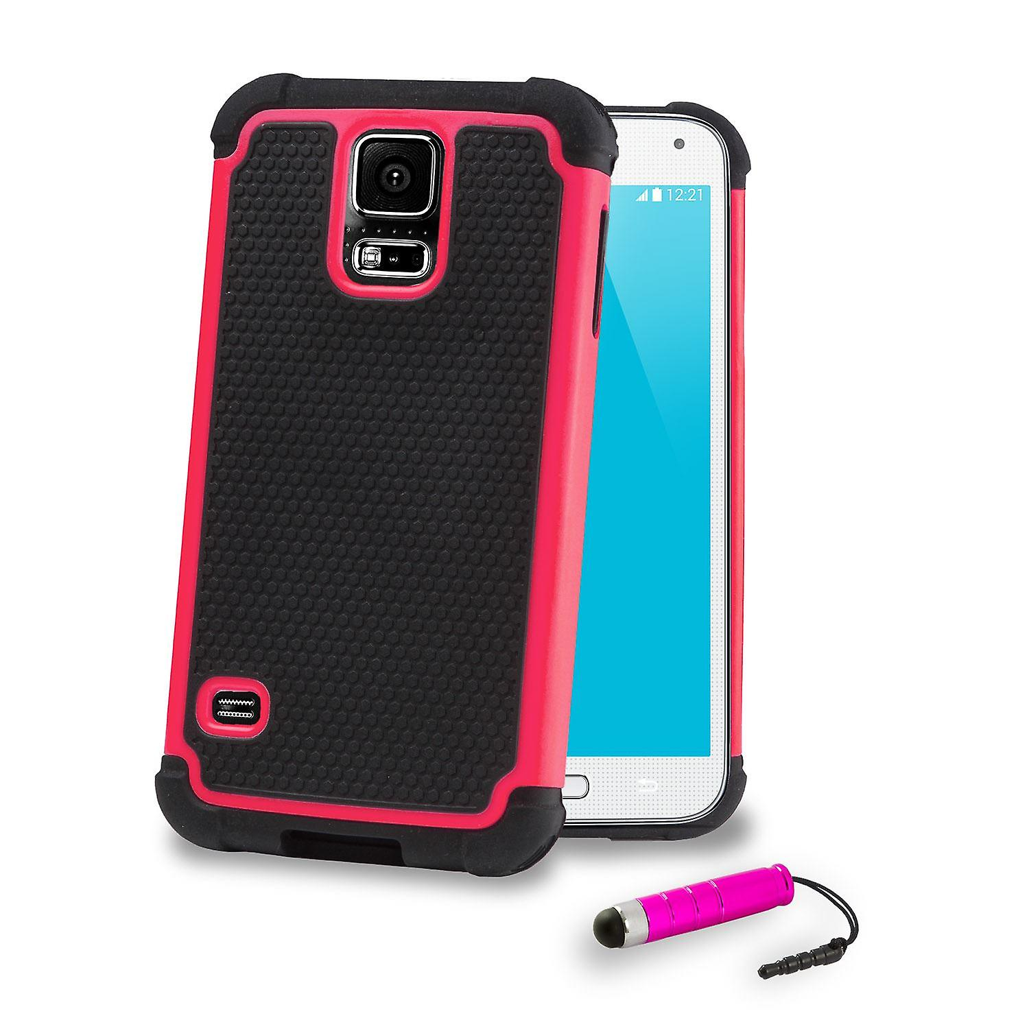 Shock Proof Case + stylus for Samsung Galaxy S5 (SM-G900) - Hot Pink