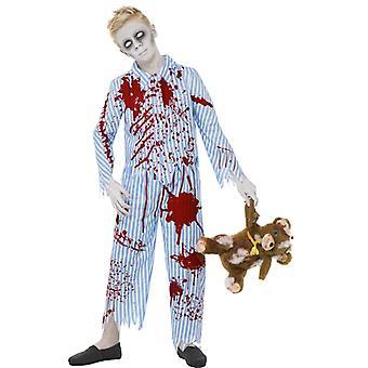 Traje de Zombie pijamas joven azul top y pantalones talla L