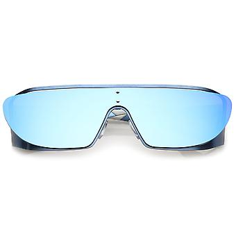 Futuristic Oversize Metal Cutout Rubberized Arm Insert Mirrored Shield Sunglasses 64mm