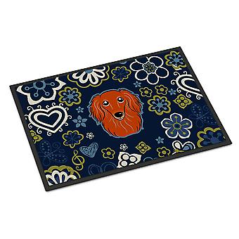 Blue Flowers Longhair Red Dachshund Indoor or Outdoor Mat 18x27