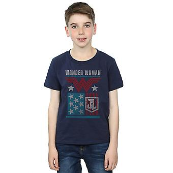 DC Comics Boys Justice League Movie Wonder Woman Flag T-Shirt