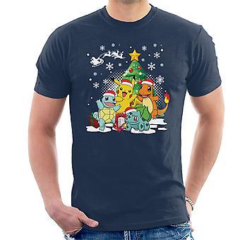 Pokemon alle joulukuusi Miesten t-paita