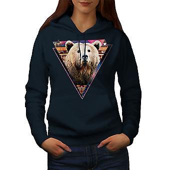 Bear Face Novelty Animal Women NavyHoodie   Wellcoda