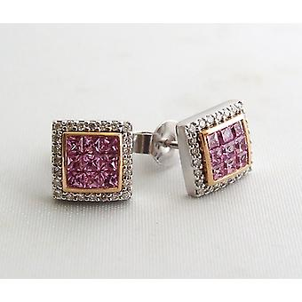 White gold earrings with diamonds and amethyst