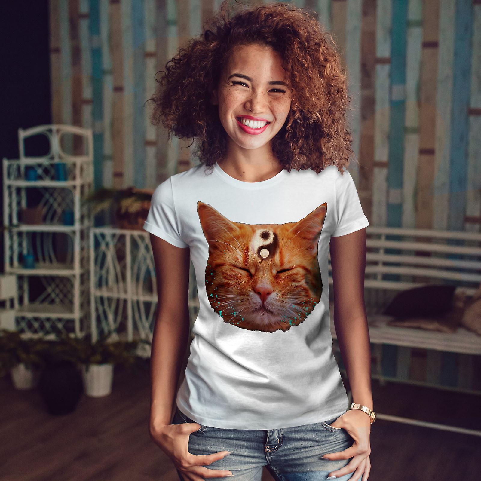 Méditation Zen Cat WhiteT-shirt femme   Wellcoda