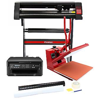 Vinyl Cutter Plotter Heat Press 5in1 Tshirt Sublimation Printing SignCut Package