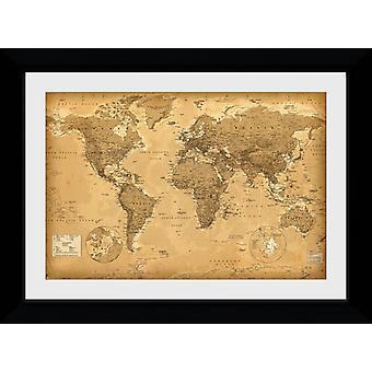 Mapa mundo estilo antiguo colector impresión