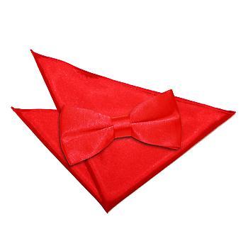 Rosso Plain Satin Papillon Cravatta & Set quadrato tascabile