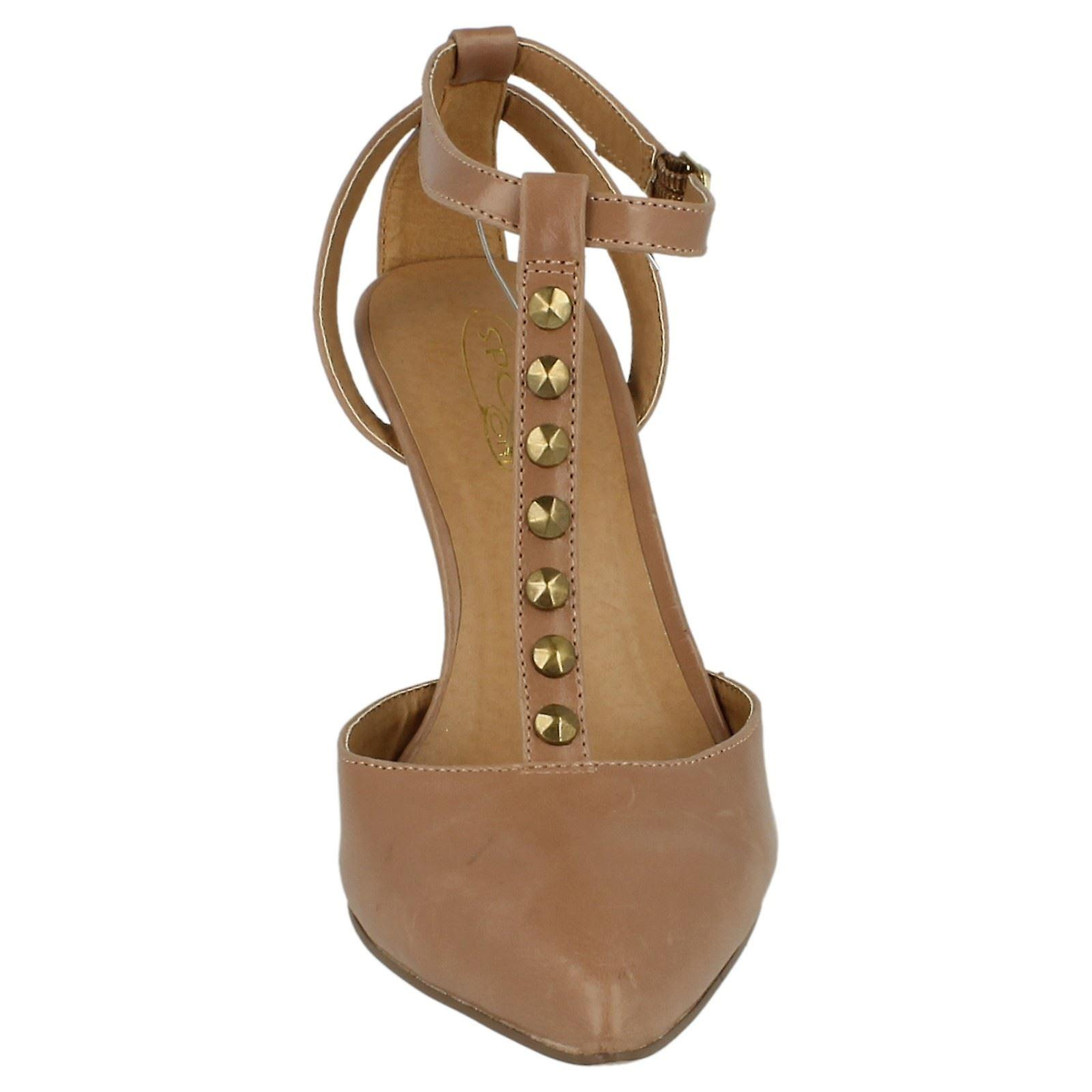 Ladies Spot On Mid Heel T Bar Pointed Toe Shoe with Ankle Strap