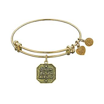 Stipple Finish Brass Dream, Believe, Achieve Angelica Bangle Bracelet, 7.25""