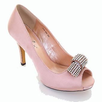 Ladies Peep Toe Satin Diamante Accent Court Heel Shoe Party Clutch Bag Purse