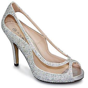 Rachel Ladies Stiletto Peep Toe Slip op Diamante uitgesneden partij hakken