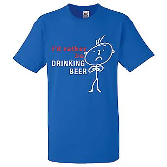 Mens I'd Rather Be Drinking Beer Royal Blue Tshirt