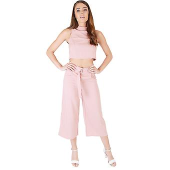 Lola May Dusty Pink High Waisted Culottes And Crop Top Co-ord