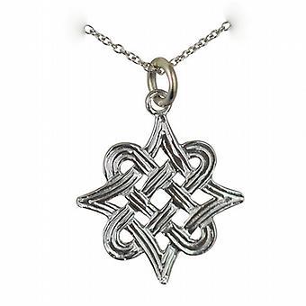 Argento 20x17mm Celtic knot pendente con una catena rolo 24 pollici