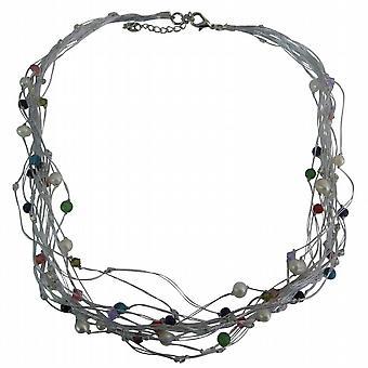 Seide Mehr-strängige Halskette geschmückt Süßwasserperlen Kristalle