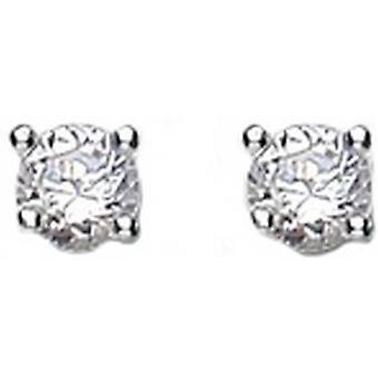 Bella 4mm Cubic Zirconia Stud Earrings - Silver/White