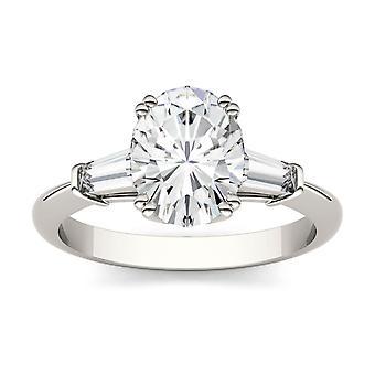 14K oro blanco Moissanite por Charles & Colvard 9x7mm Oval anillo de compromiso, 2.47cttw rocío