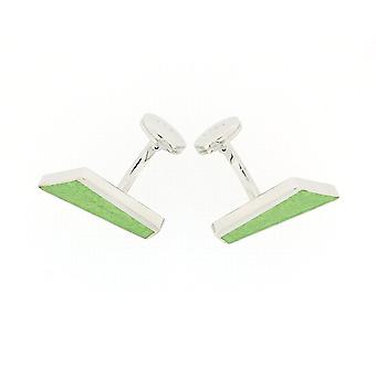 925 Silver Diagonal Shaped Cufflinks With Green Leaf Design By TOC
