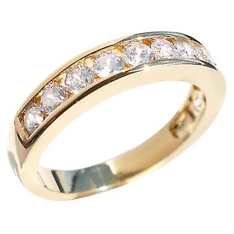 Princess Cut Simulated Diamonds Half Eternity Band. Gold Filled, Stamped GL