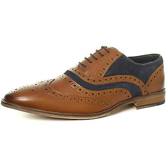 Roamers M001BT 5 ilhós Brogue Oxford Tan/Navy Mens Shoes