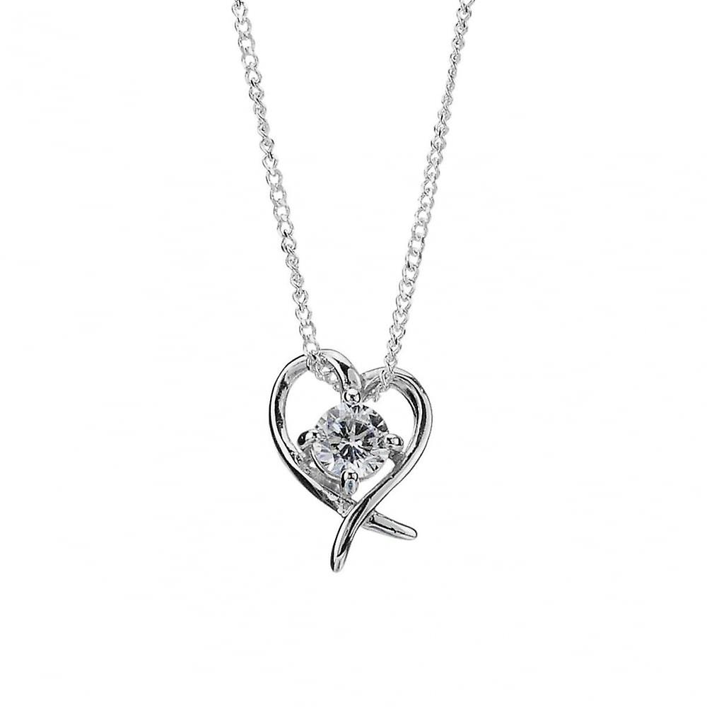 Eternity Sterling Silver Cubic Zirconia Heart Pendant And 18
