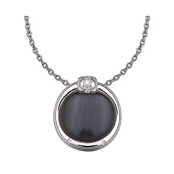 PENDANT WITH CHAIN ROUND 925 SILVER WITH BLACK CATEYE ZIRCONIUM